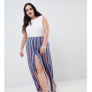 Asos design curve wide leg trousers with split front in aztec stripe print - multi, Asos curve