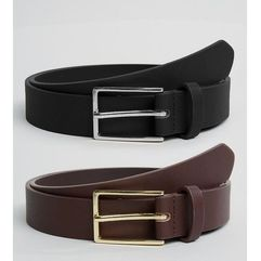 2 pack faux leather smart slim belt save - multi marki Asos