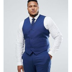ASOS PLUS Wedding Skinny Suit Waistcoat in Navy Cross Hatch with Printed Lining - Navy