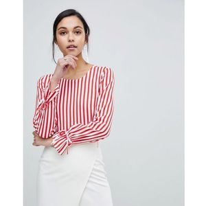 Y.a.s trey striped top with tie cuff - red