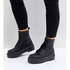 attitude wide fit chunky lace up boots - black marki Asos design