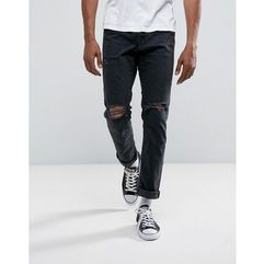 Abercrombie & Fitch Slim Fit Jeans in Destroyed Black Wash - Black