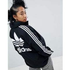 adidas Originals adicolor Three Stripe Stadium Jacket With Hood In Black - Black, kolor Black