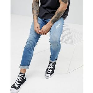 LDN DNM Slim Fit Jeans in Washed Blue - Blue, jeansy