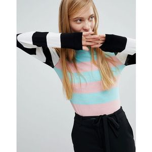 Monki Lightweight Striped Jumper - White, kolor biały