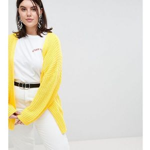 ASOS DESIGN Curve oversize cardigan in chunky rib with buttons - Yellow