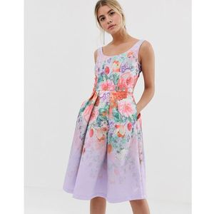 Chi Chi London satin midi prom dress with deep scoop neck with floral placement - Multi