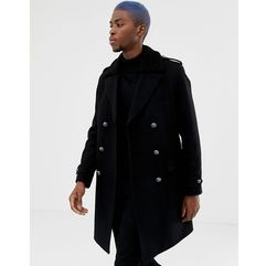 Asos design wool mix trench coat with borg collar in black - black