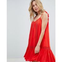 Accessorize Lace Insert Strappy Beach Dress - Red, 1 rozmiar