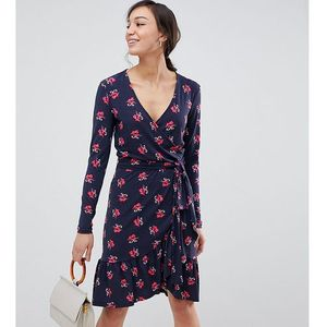 YAS Tall ruffle wrap dress in pink floral print - Multi