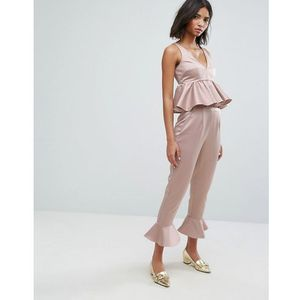 trousers with peplum hem co-ord - pink marki Lost ink
