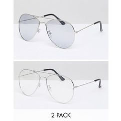 two pack aviator sunglasses - silver marki 7x