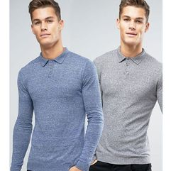 ASOS 2 Pack Knitted Muscle Fit Polo In Blue/Grey SAVE - Multi