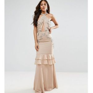 high neck embellished plunge front maxi dress with frill skirt detail - pink marki Maya tall