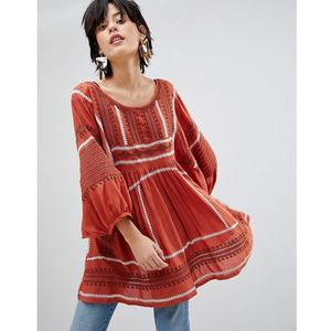 Free People Wild One Embroidered Tunic Top - Orange, w 3 rozmiarach
