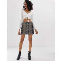 AllSaints lena oba leather skirt in snake print - Grey, kolor szary