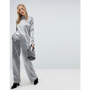 metallic wide leg trouser - silver, Pieces, 36-40