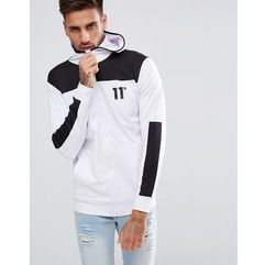 11 Degrees Track Zip Through Hoodie In White - White