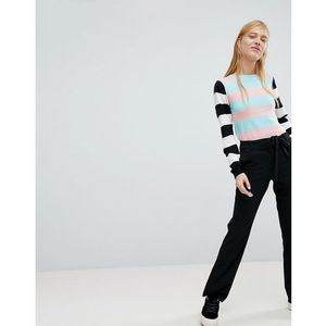 side stripe flared trouser - black marki Monki