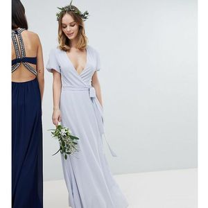 wrap maxi bridesmaid dress with tie detail and puff sleeves - grey, Tfnc petite