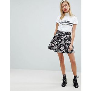 marbled a-line skirt - black, Love moschino