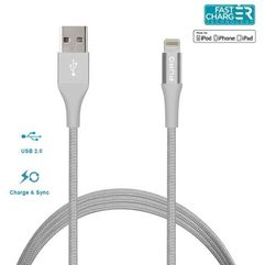 Puro braided cable - kabel mfi z lightning + klips + aluminum connector 1m (silver) - srebrny