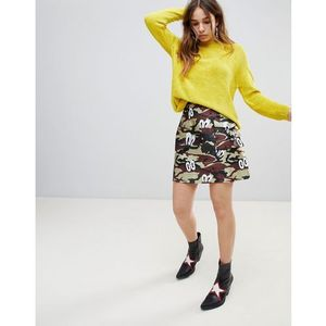 House of holland hattie camo print mini skirt - green