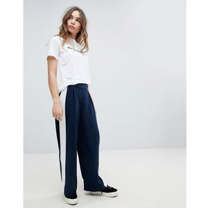 Only Wide Leg Trouser With Side Stripe - Navy