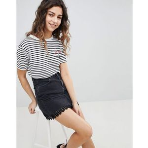 Miss Selfridge Lace Trim Denim Mini Skirt - Black, kolor czarny