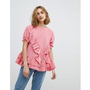 Lost Ink Smock Top With Frill Detail - Pink