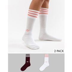 adidas Originals Crew Sock Pack In White And Maroon - Red