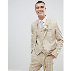 ASOS DESIGN Wedding Skinny Suit Jacket In Stone Check - Stone