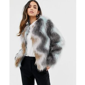 Vila Zig Zag Faux Fur Jacket - Multi, kolor Multi