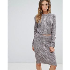 Bellfield Orta Rib and Cable Mix Knit Jumper Top - Grey