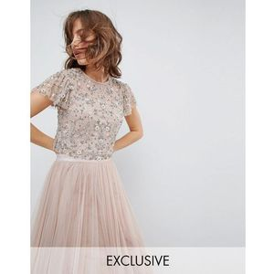embellished tonal delicate top with flutter sleeve - pink, Needle & thread