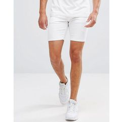11 degrees super skinny denim shorts in white with distressing - white