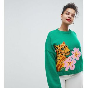 ASOS DESIGN Curve tiger jumper with tropical flower - Green