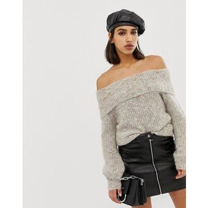 off the shoulder mohair mix jumper in oatmeal - beige, River island, 34-40
