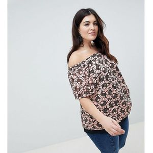 printed bardot top - pink, Lovedrobe