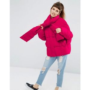 ASOS Statement Puffer Jacket with Tie Neck - Pink