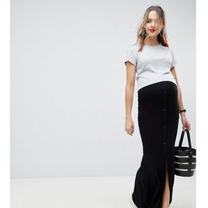ASOS DESIGN Maternity Maxi Skirt With Button Front And Split Detail - Black, kolor czarny