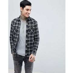 Allsaints long sleeve checked shirt with raw hem - black