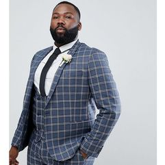 design plus wedding skinny suit jacket in blue and white check - blue, Asos