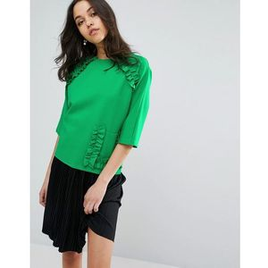 Lost ink short sleeve top with extreme frill and pocket - green