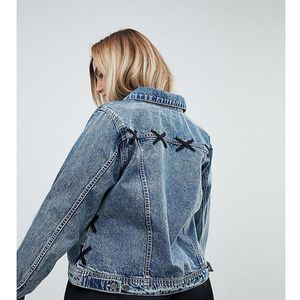 lace detail denim jacket - blue, Zizzi