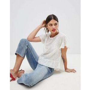mixed polka dot frill top - white, Esprit