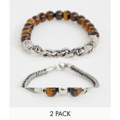 beaded bracelet 2 pack with semi precious stones and chain - brown marki Asos design