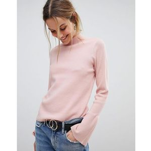 high neck jumper with fluted sleeve - pink, Pieces, 34-42