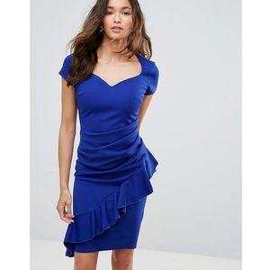 v neck pencil dress with asymmetric ruffle detail - blue, City goddess