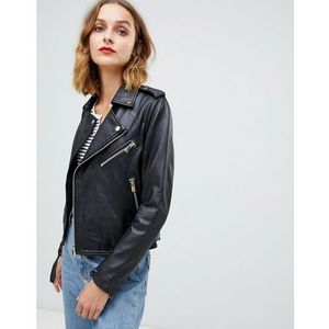 Barney's originals leather jacket with belt - black